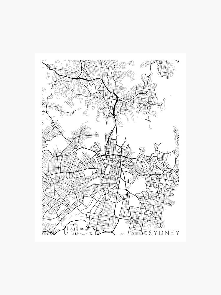 Sydney On Australia Map.Sydney Map Australia Black And White Photographic Print