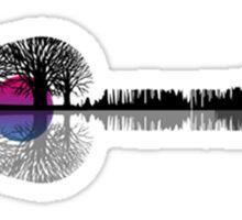 Music instrument tree silhouette ukulele guitar shape Sticker