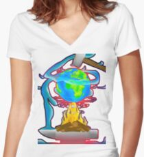 Wold on Fire Women's Fitted V-Neck T-Shirt