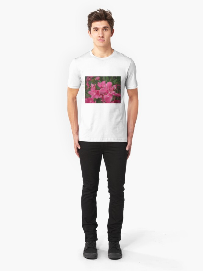 Alternate view of Pink Flower Up Close  Slim Fit T-Shirt