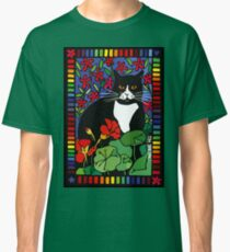 Black and White Cat in the Garden Classic T-Shirt