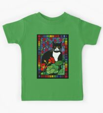 Black and White Cat in the Garden Kids Tee