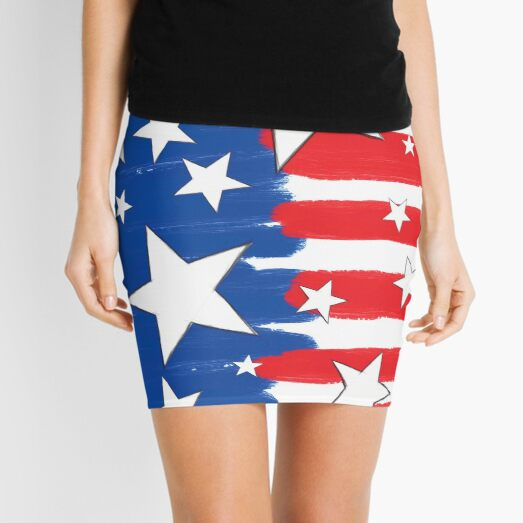 Brushed Styled Red White Blue and Stars Mini Skirt