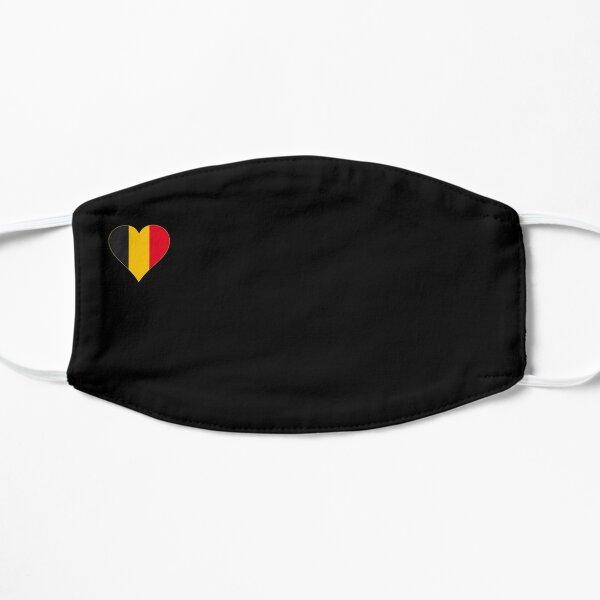 Masque facial drapeau Belgique coeur / noir Masque sans plis