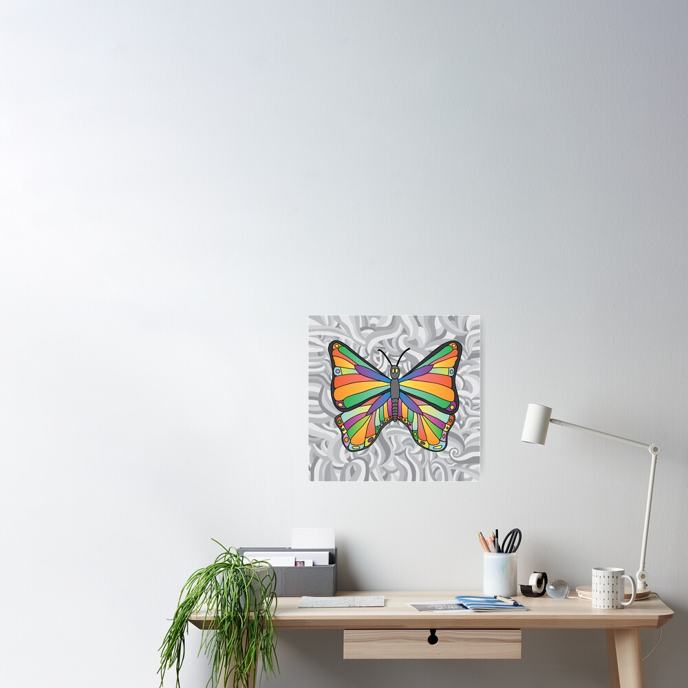 Groovy Butterfly (swirly background) Poster