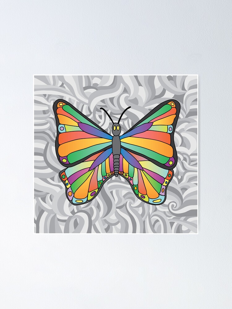 Alternate view of Groovy Butterfly (swirly background) Poster