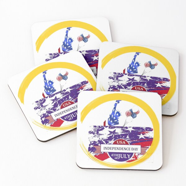 USA INDEPENDENCE DAY 4th OF July - american Independene-  Independence Day Coasters (Set of 4)