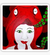 Lady Cephalopod in Red Sticker