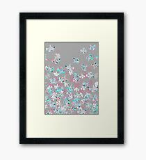 Flight - abstract in pink, grey, white & aqua Framed Print