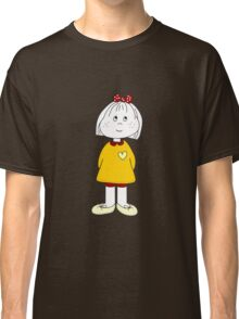 Cute Little Girl Whit Yellow Dress, Red Hair Ribbon And a Big Heart Classic T-Shirt