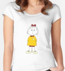 Cute Little Girl Whit Yellow Dress, Red Hair Ribbon And a Big Heart Women's Fitted Scoop T-Shirt