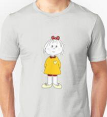 Cute Little Girl Whit Yellow Dress, Red Hair Ribbon And a Big Heart Unisex T-Shirt