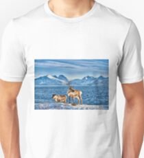 Reindeer in snow covered landscape at sea T-Shirt