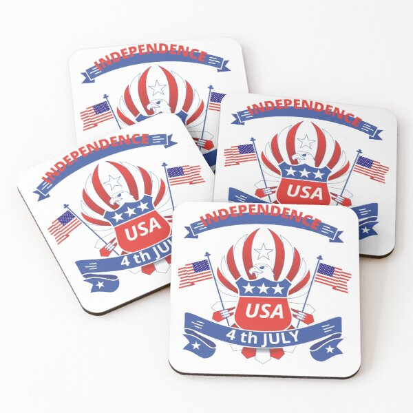 Copie de USA INDEPENDENCE DAY 4th OF July - american Independene-  Independence Day Coasters (Set of 4)