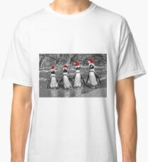 Penguins with Santa Claus caps Classic T-Shirt