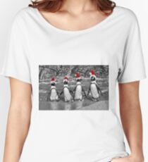 Penguins with Santa Claus caps Women's Relaxed Fit T-Shirt
