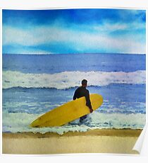 Watercolor painting of a surfer on the beach Poster