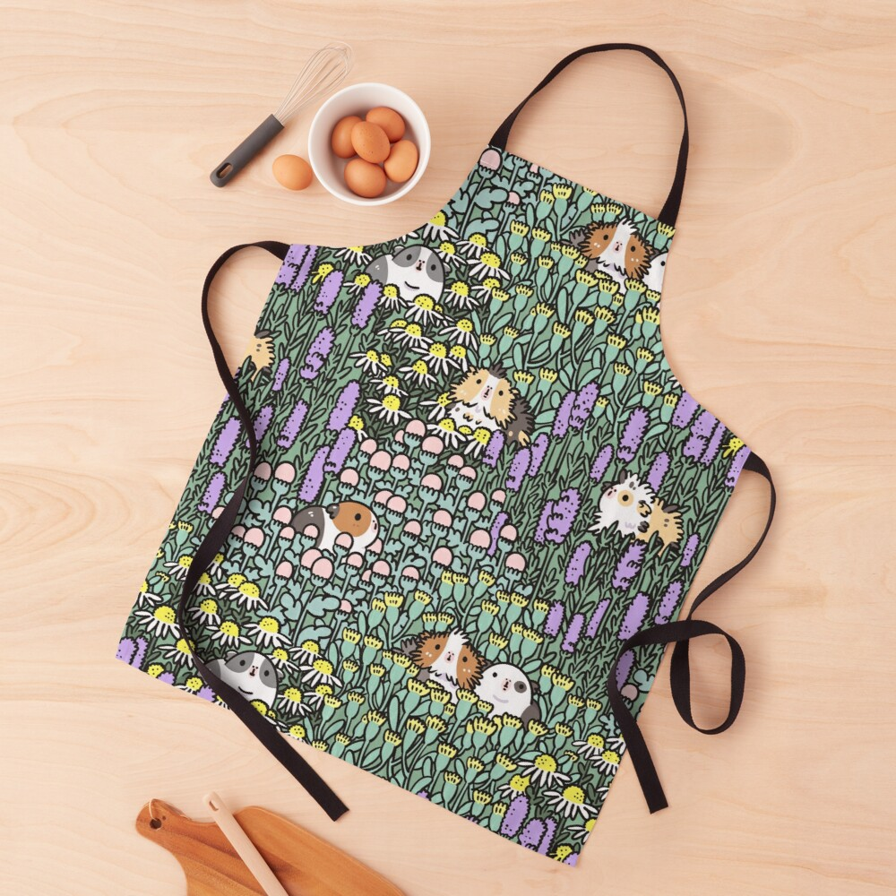Guinea pigs and garden herbs pattern Apron