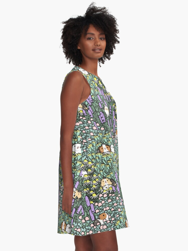 Alternate view of Guinea pigs and garden herbs pattern A-Line Dress