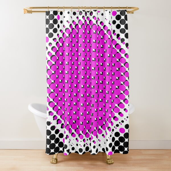 Pink and black circle bubbles with pattern floor Shower Curtain