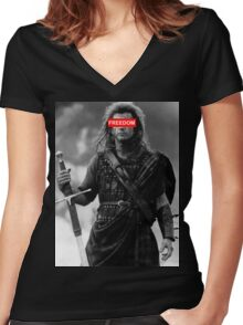 BRAVEHEART - freedom obey Women's Fitted V-Neck T-Shirt