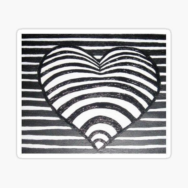 Herz schwarz weiß Sticker