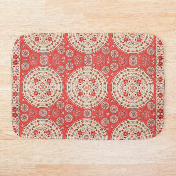 Boho Oriental Traditional Floral Moroccan Style Bath Mat