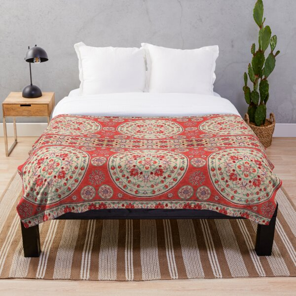 Boho Oriental Traditional Floral Moroccan Style Throw Blanket