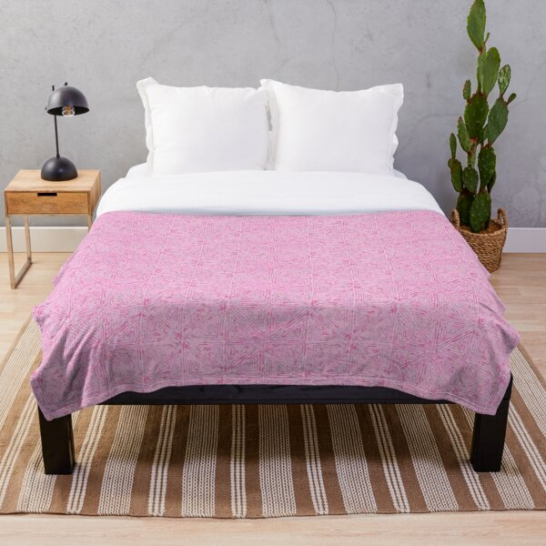 Watercolor Summer Vibes Soft Pink Throw Blanket