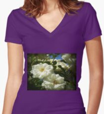 Bridal White at State Rose Garden-Spring 2009 Women's Fitted V-Neck T-Shirt