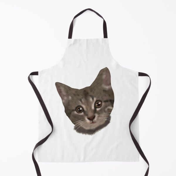 Cute Cat Cartoon Apron Licking Cat Funny Face Japanese Comic Apron For Kids