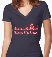 Shut Up Legs Red Polka Dot Mountain Profile Women's Fitted V-Neck T-Shirt