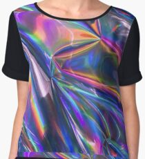 Holographic Material Women's Chiffon Top