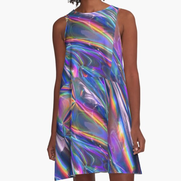 Holographic Material A-Line Dress