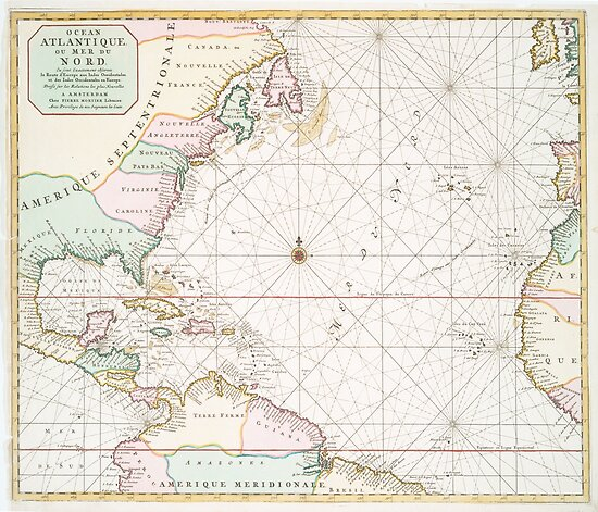 Vintage Atlantic Ocean & North America Map (1700s)\