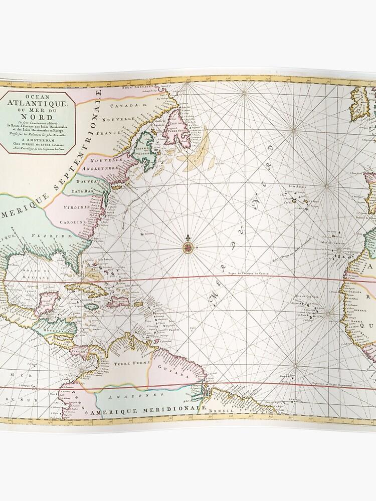 Vintage Atlantic Ocean & North America Map (1700s)   Poster