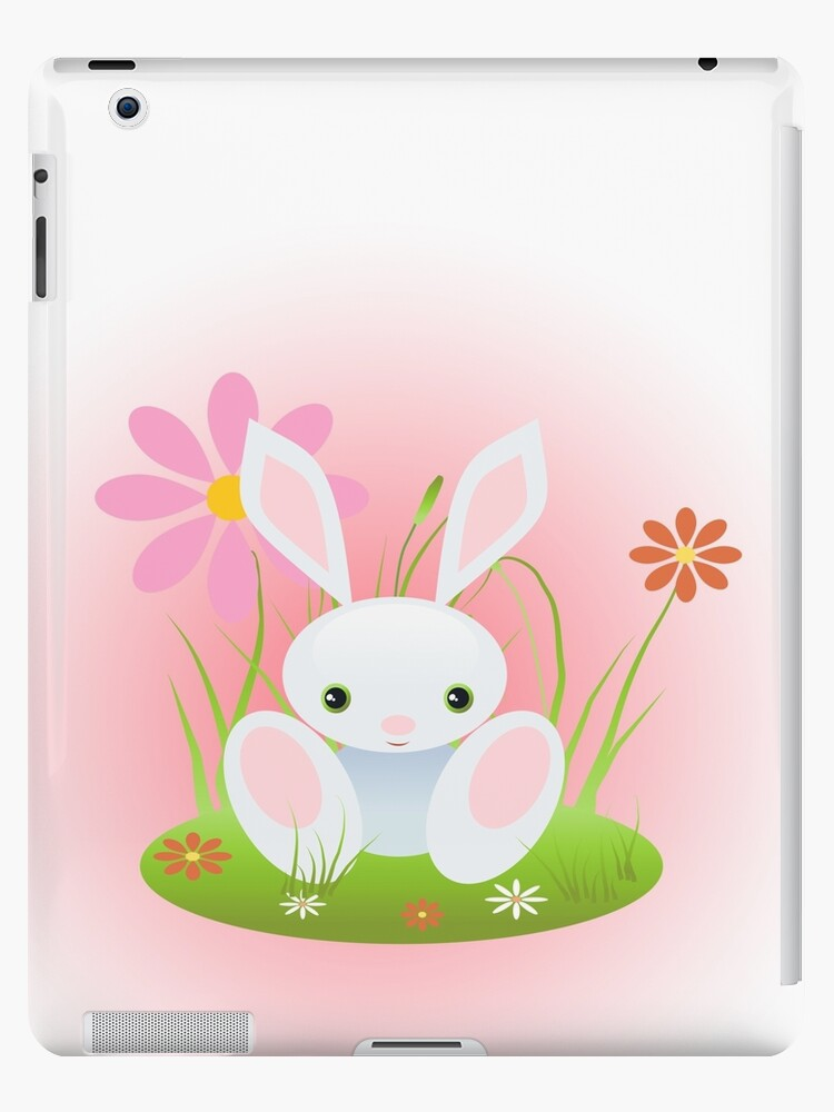 Little Blue Baby Bunny With Flowers by ruxique
