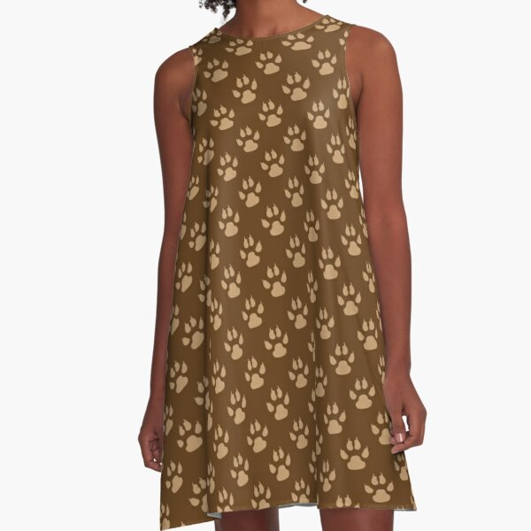 Adorable - Tiny Brown Paws Print - Unisex - Brown - Paw A-Line Dress