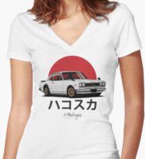 Skyline GT-R hakosuka (white) Women's Fitted V-Neck T-Shirt