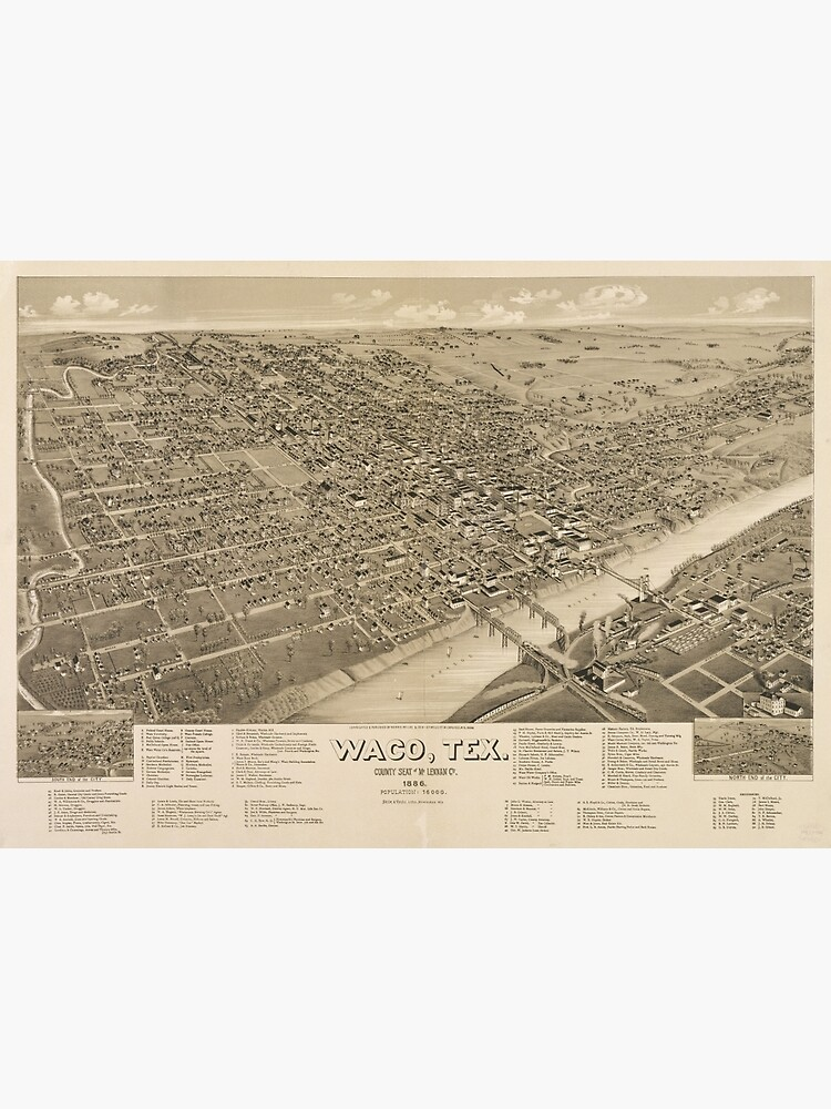 Vintage Pictorial Map of Waco Texas (1886) | Canvas Print