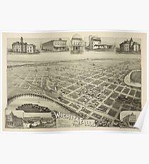 Vintage Pictorial Map of Wichita Falls TX (1890) Poster