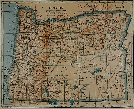 Vintage Oregon Map.Vintage Map Of Oregon 1921 Posters By Bravuramedia Redbubble