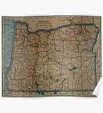Vintage Map of Oregon (1921) Poster