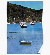 Luxury yachts in Watercolor Poster