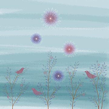 Twigs Birds Flowers - Blue by DionisiSandra