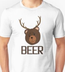 Bear Deer Beer Animals Funny T shirt Grizzly Bear Cool Drinking Drunk Joke Unisex T-Shirt