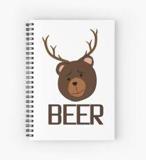 Bear Deer Beer Animals Funny T shirt Grizzly Bear Cool Drinking Drunk Joke Spiral Notebook