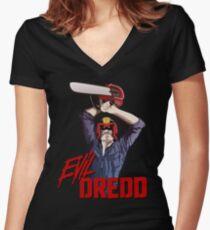 Evil Dredd Women's Fitted V-Neck T-Shirt