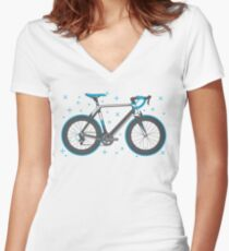 Road Bike Graphic-Sprinter+ Women's Fitted V-Neck T-Shirt