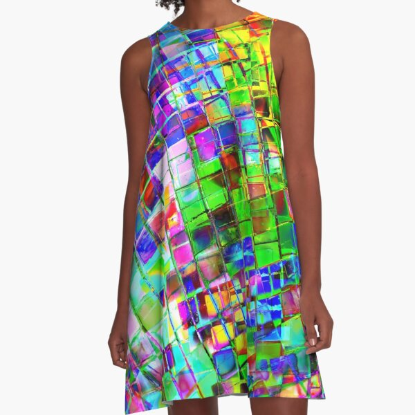 Psychedelic Planet Disco Ball A-Line Dress